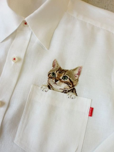 Hiroko Kubota: Embroidered Cat In Pocket Of Blouse. http://farm4.staticflickr.com/3674/10319323464_4501b1676a_o.jpg http://farm4.staticflickr.com/3715/10319341675_dfd67ecb5c_o.jpg