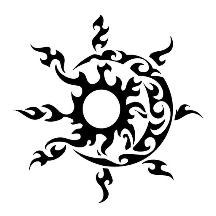 Tribal Sun And Moon Tattoo Designs