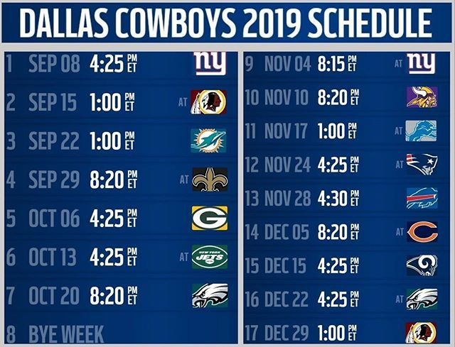 Image result for cowboys nfl 2019 schedule