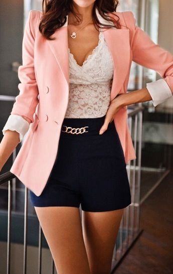 I love this outfit! ❤ Pink blazer, white crochet shirt, and navy blue high-waist shorts