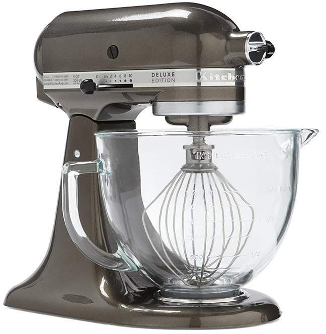"KitchenAid Artisan Design Stand Mixer. 16.5 x 11 x 16.3"" 10 speed 325 watts Tilt head design Planetary mixing action Includes 5-qt. bowl, dough hook, flat beater and wire whip Manufacuter's limited one-year warranty Metal, Glass Bowl Bowl is dishwasher safe Made in USA."