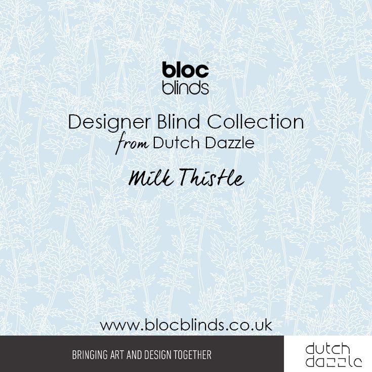 'Milk Thistle' Blue. Designer Blind Fabric.Order Made to Measure Designer Blinds Online. Made in the UK. Award Winning Innovation. Be Inspired. www.blocblinds.co.uk
