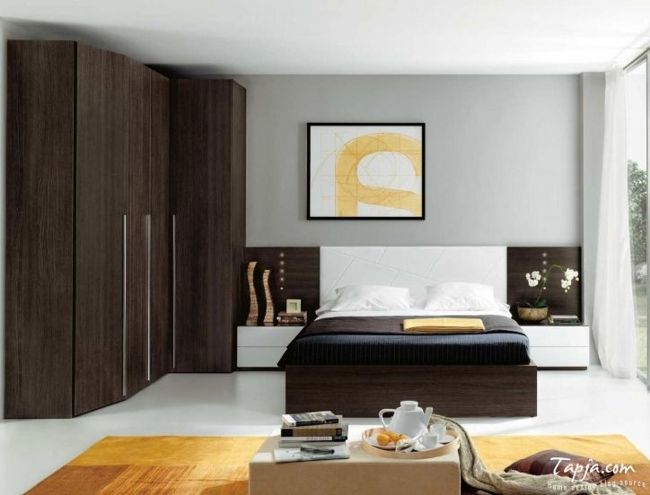 Bedroom Cupboard Designs And Colours With Beautiful Wooden Brown Color Black Bedding Pictures 211