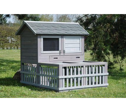 #Clapier Village de belles dimensions : 112 x 104 x 102 cm pour #rongeurs : lapin, cobaye / cochon d'inde. Abri en bois CPF pour l'extérieur.