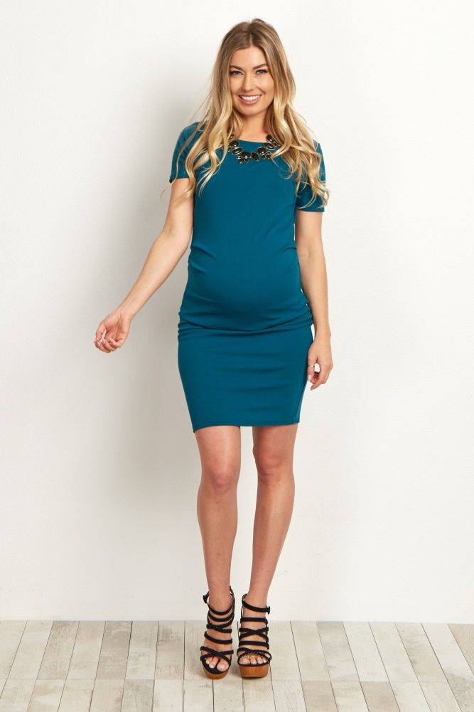 The perfect versatile dress from morning until night, this maternity dress is sure to keep you stylish and comfortable. A soft and stretchy material easily accommodates your growing bump, and looks beautiful paired with a statement necklace and heels. With this dress, you can have a gorgeous ensemble whether you're at the office or going to date night.