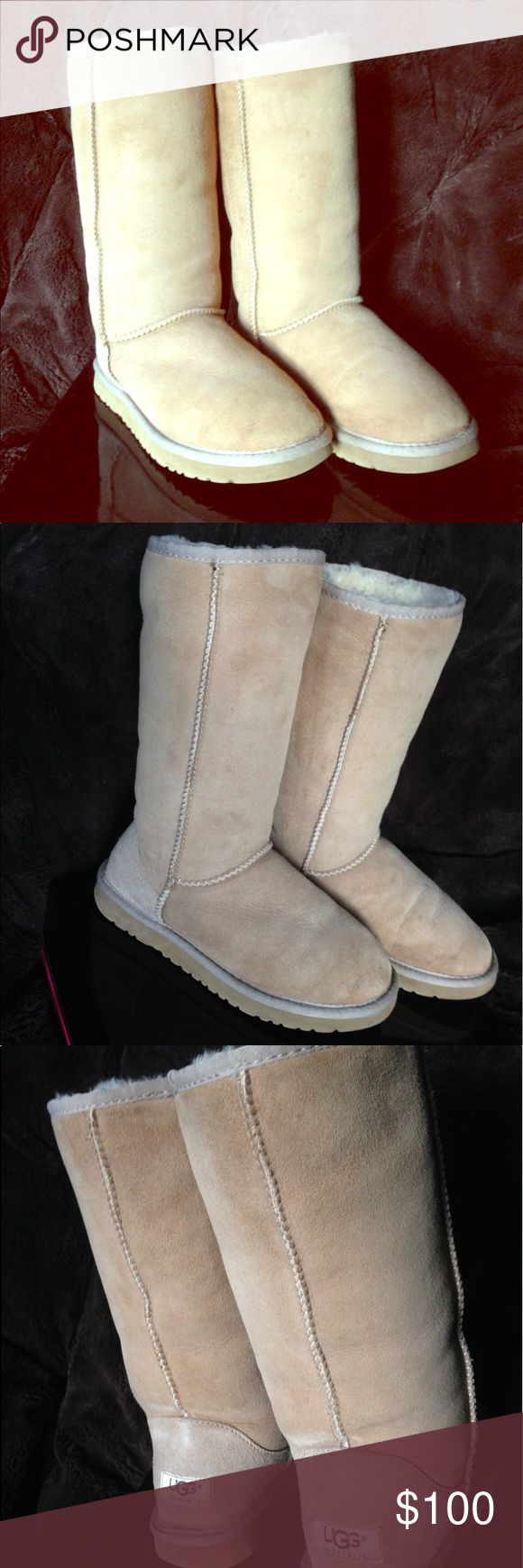 """Women's size 6 tall UGG boots in """"sand""""! EUC!!! Women's size 6 tall UGG boots in EXCELLENT condition! Worn only a handful of times; I forgot you needed to order a half size/1 size down from what you usually wear in shoes; and now they're too big on me 😞..lol. My loss is your gain!!! I've taken care of them with the """"UGG"""" kit; sheepskin protectant etc. Fur is still soft and fluffy! Only sign of any real wear is on the back right heel; some discoloration (see pics). Other than that they…"""