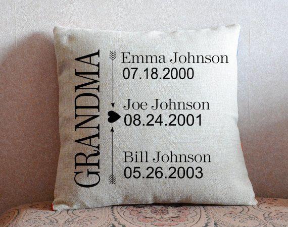 Grandparents Pillow Cover Custom Grandkids Name Cushion Cover
