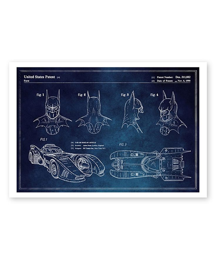 Look at this Batmobile & Accessories 1990 Blueprint Art Print on #zulily today!