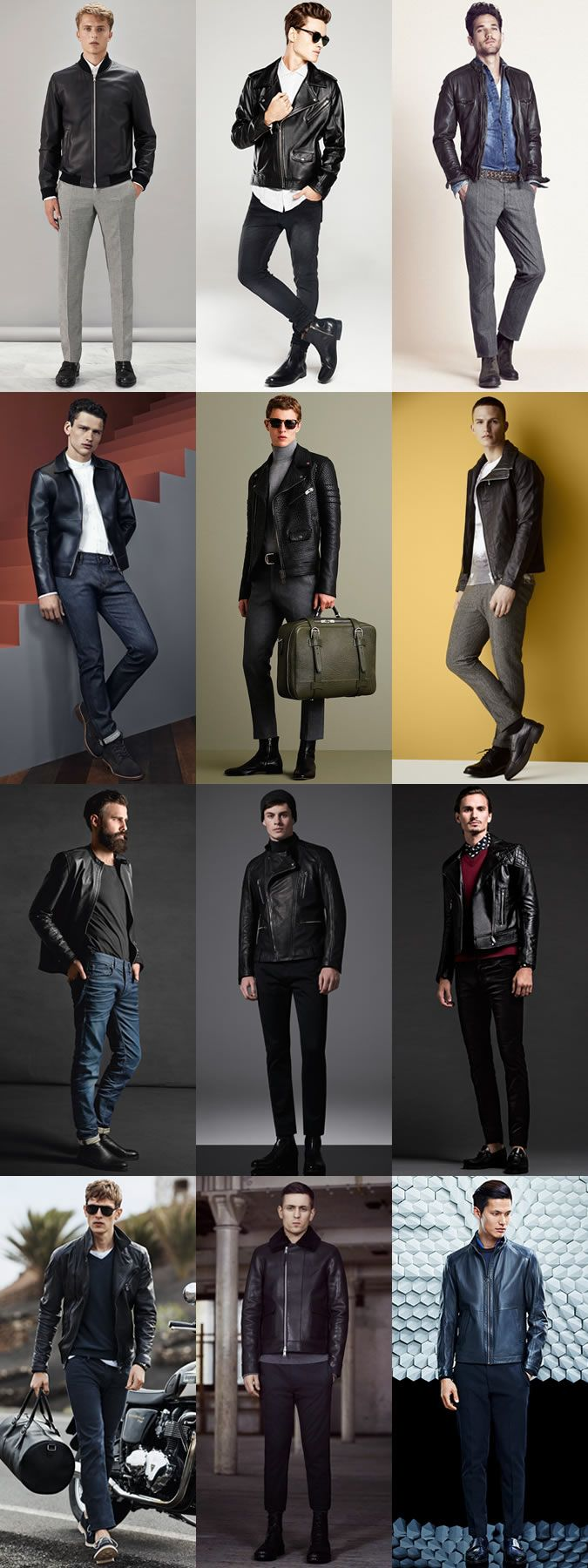 Men's Leather Jackets Outfit Inspiration Lookbook