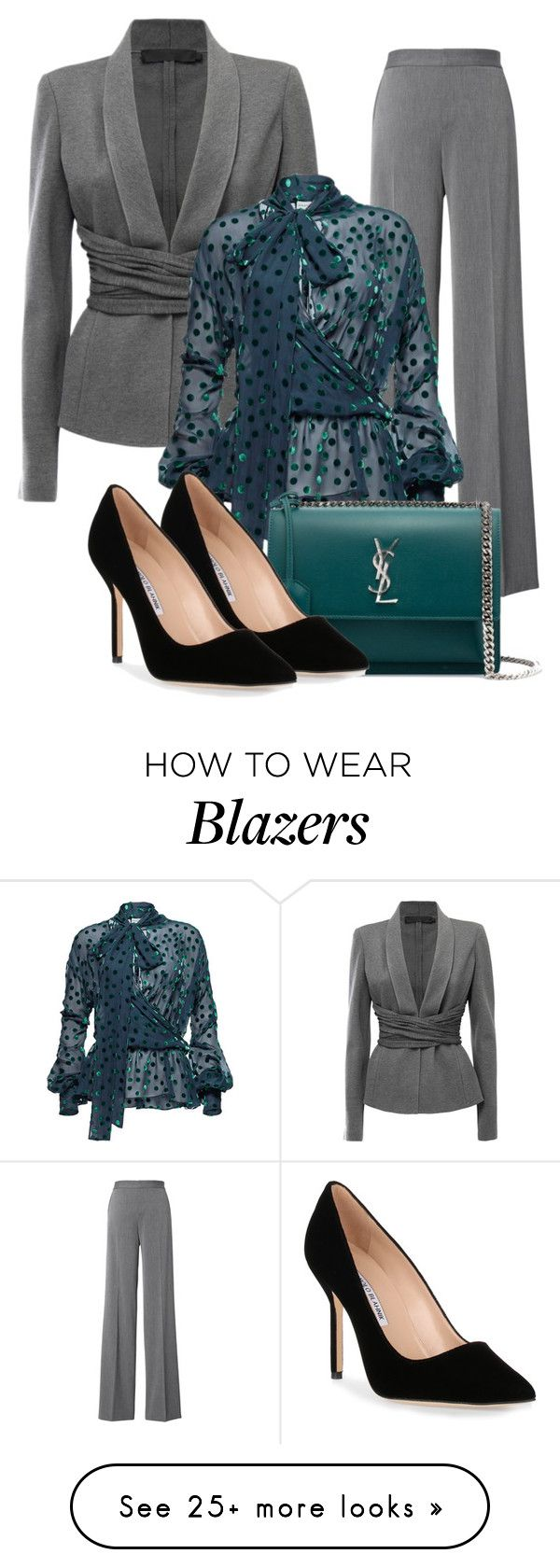 """grey blazer"" by atenaide86 on Polyvore featuring Donna Karan, Magda Butrym, Yves Saint Laurent and Manolo Blahnik"