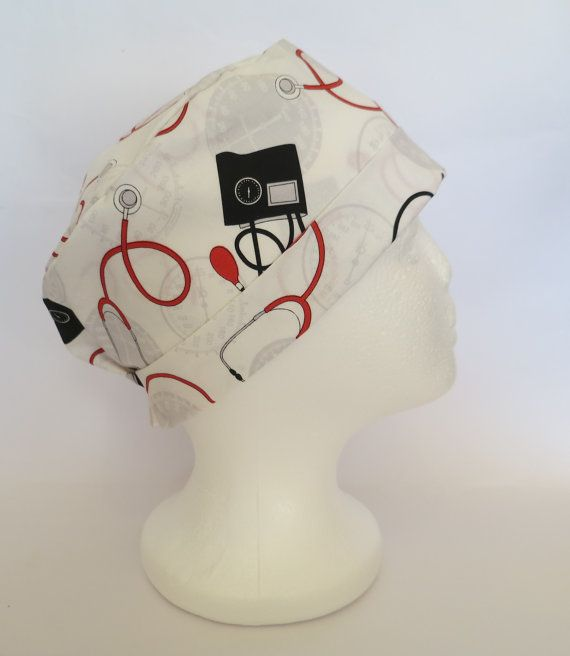 Scrub Hat Theatre Nurses Surgical Cap  Blood by SnazzyScrubHats