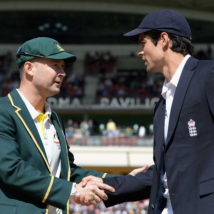 Michael Clarke and Alastair Cook before the second Ashes Test in Adelaide   Australia captain Michael Clarke shakes hands with England captain Alastair Cook ahead of day one of the Second Ashes Test Match between Australia and England at Adelaide Oval on December 5, 2013 in Adelaide, Australia.  Getty Images: Gareth Copley