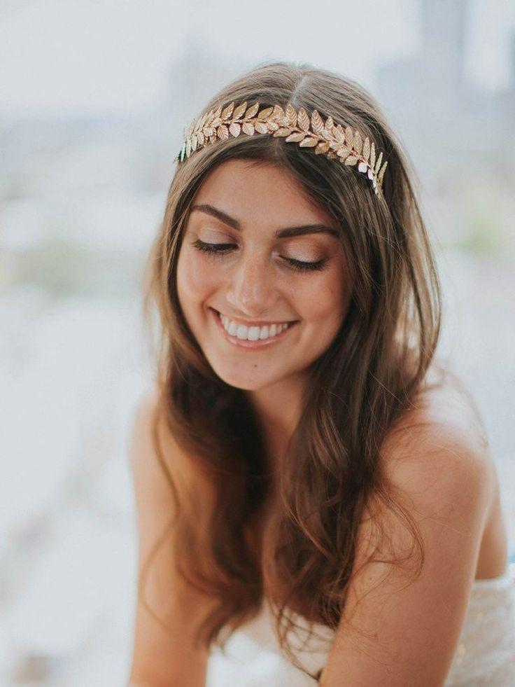 Haarkranz für die Braut mit Blättern in Gold – Ariadne – Elegante Boho Glam Hochzeit