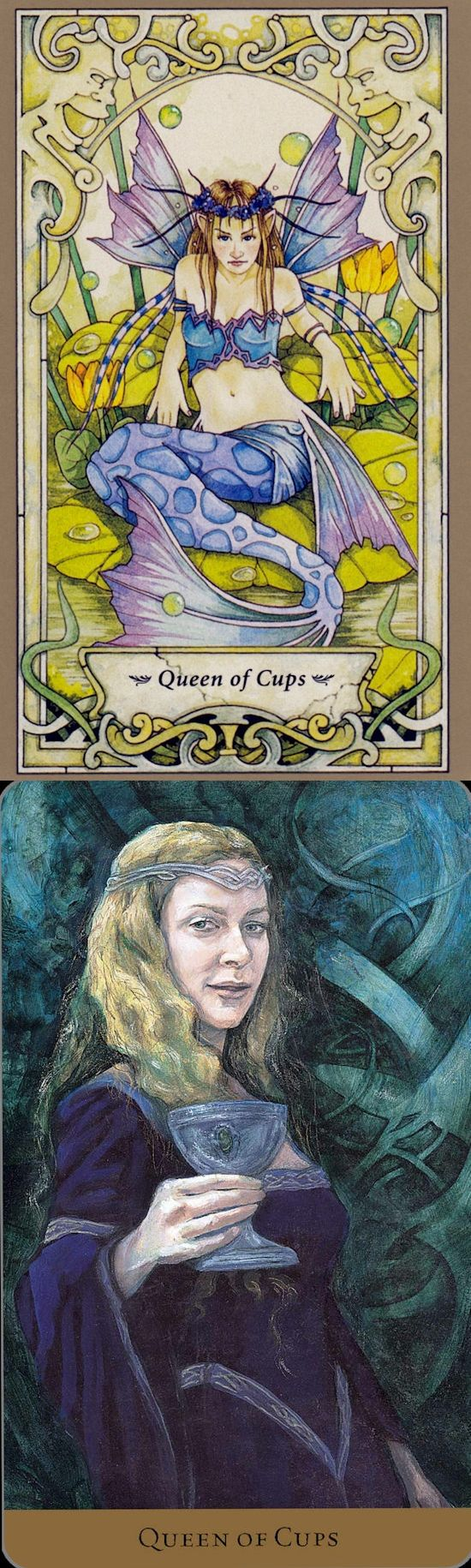 Queen of Cups: compassionate and cold (reverse). Mystic Faerie Tarot deck and Hidden Realm Tarot deck: fale tarot, tarot cards online and tarot. The best playing card tattoo and paganism art. #altar #halloweenmakeup #oldways #thestar