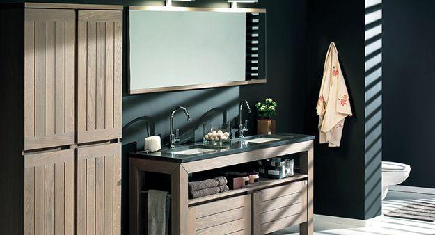 Terra badkamermeubel in donkere eik met spiegelwand en extra