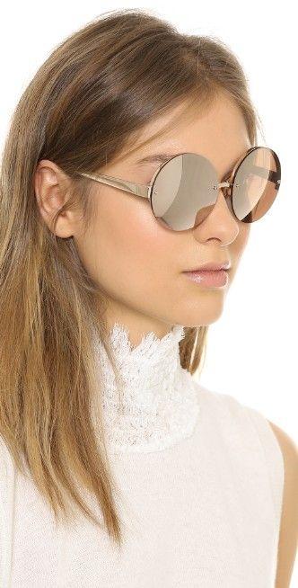 Linda Farrow Luxe Rose Gold Round Sunglasses | SHOPBOP