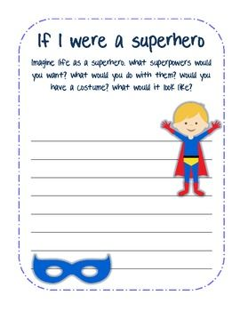 Superhero Writing...cute prompt for kids
