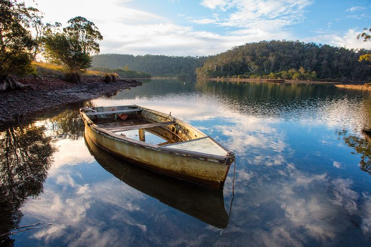 old punt on the Narooma River Australia