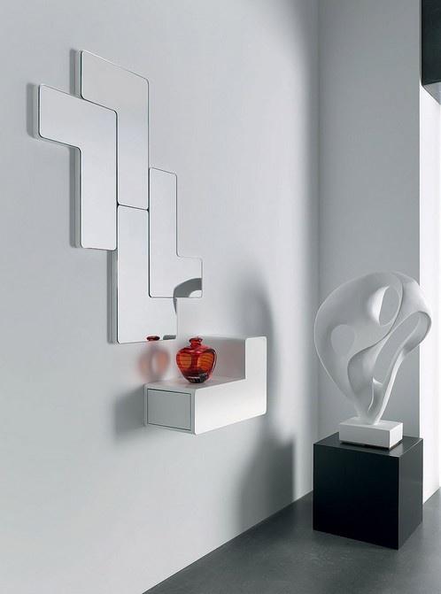 #recibidor #decoracion Recibidor con Espejo de Diseño y consola con cajón