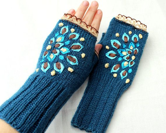 Hand Knitted Fingerless Gloves, Gloves & Mittens, Accessories, Ribbon Embroidery, Turquoise, Spring Celebrations, Gift Ideas, For Her