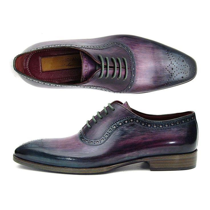 Paul Parkman Men's Purple & Navy Medallion Toe Oxfords