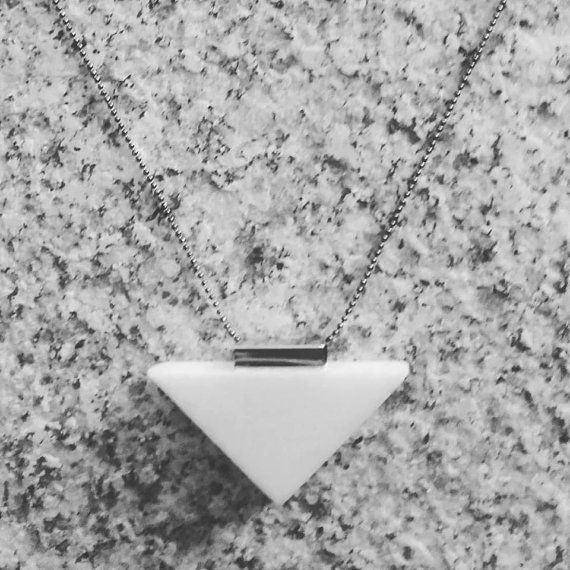 White Marble Necklace in silvered metal army by Marblestsoukli