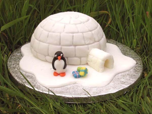 Kids cake; simple; igloo; pingu