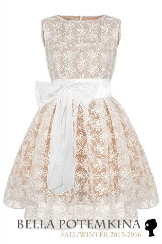 """Платье """"Монте"""" белое кружево (на бежевом), мини"""