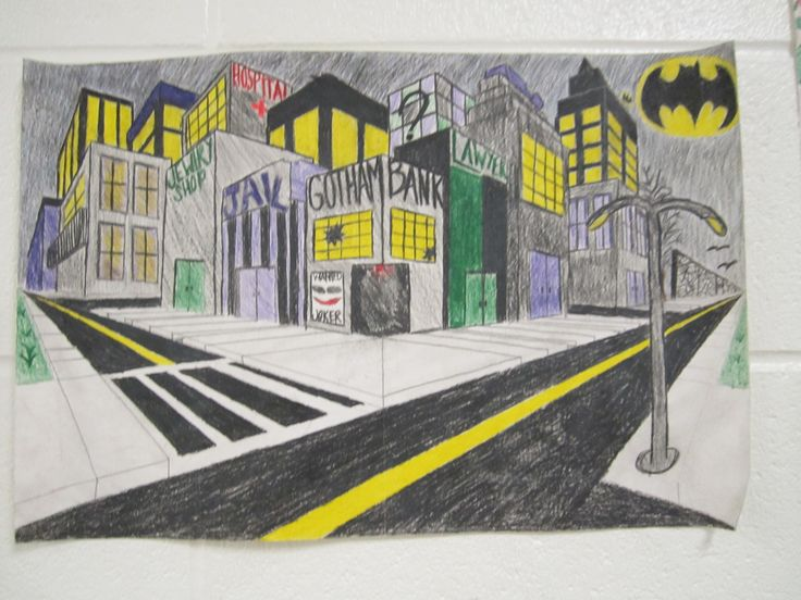 City In Two Point Perspective Art My Students Artwork
