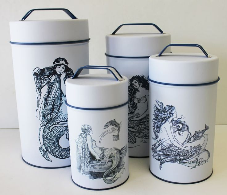 Mermaid Cylinder Tins Food Safe Set Of 4 Kitchens