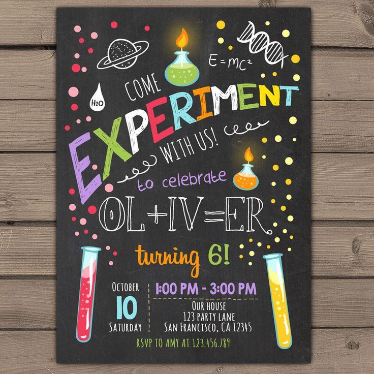 Science birthday invitations Science birthday party invitation Science party invites Boy birthday Girl birthday printable invitation ANY AGE by Anietillustration on Etsy https://www.etsy.com/il-en/listing/264531179/science-birthday-invitations-science