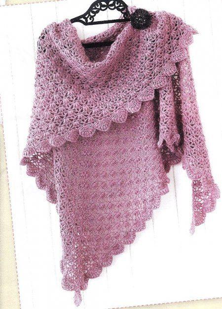 схемы вязания шалей крючком вязание Crochet Shawl Diagram