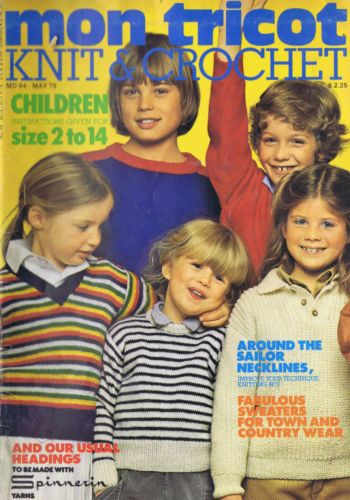 VINTAGE-KNITTING-CROCHET-PATTERNS-Kids-Sweaters-Pullovers-Mon-Tricot-SIZES-2-14