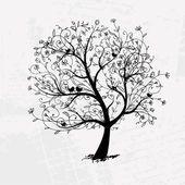 Albero arte bella, sagoma nera per il vostro disegno — Vettoriale Stock