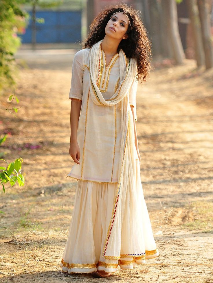 Buy Cream Golden Gota Embellished Cotton Kurta Elasticated Waist Sharara & Crinkled Dupatta Set of 3 Apparel Tunics Kurtas Scintillating Desire Bagru Printed Gowns Dresses More Online at Jaypore.com