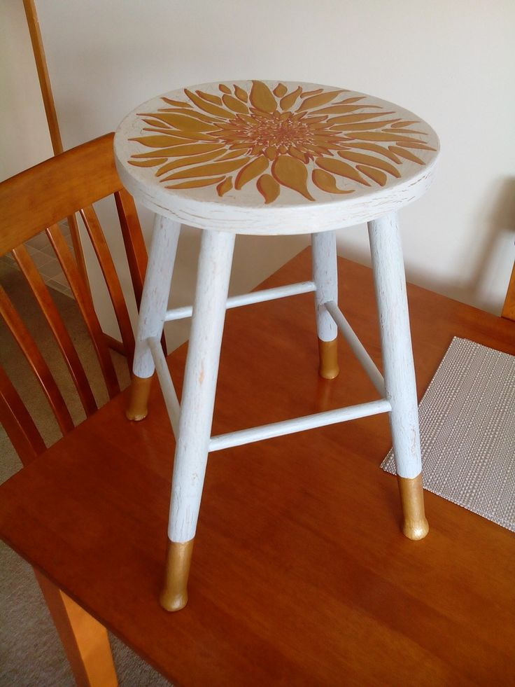 Gold and white crackled stool hand painted sunflower and gold dipped feet