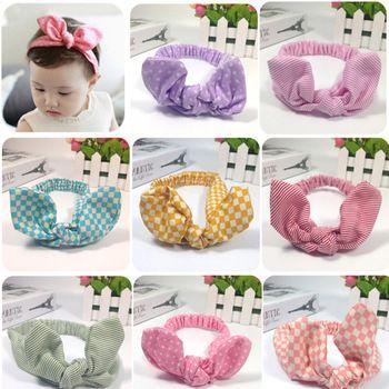 Moda 2015 precioso pelo arquea la venda del bebé colorido patrón de punto accesorios para el cabello fotografías reales compras libres 6625