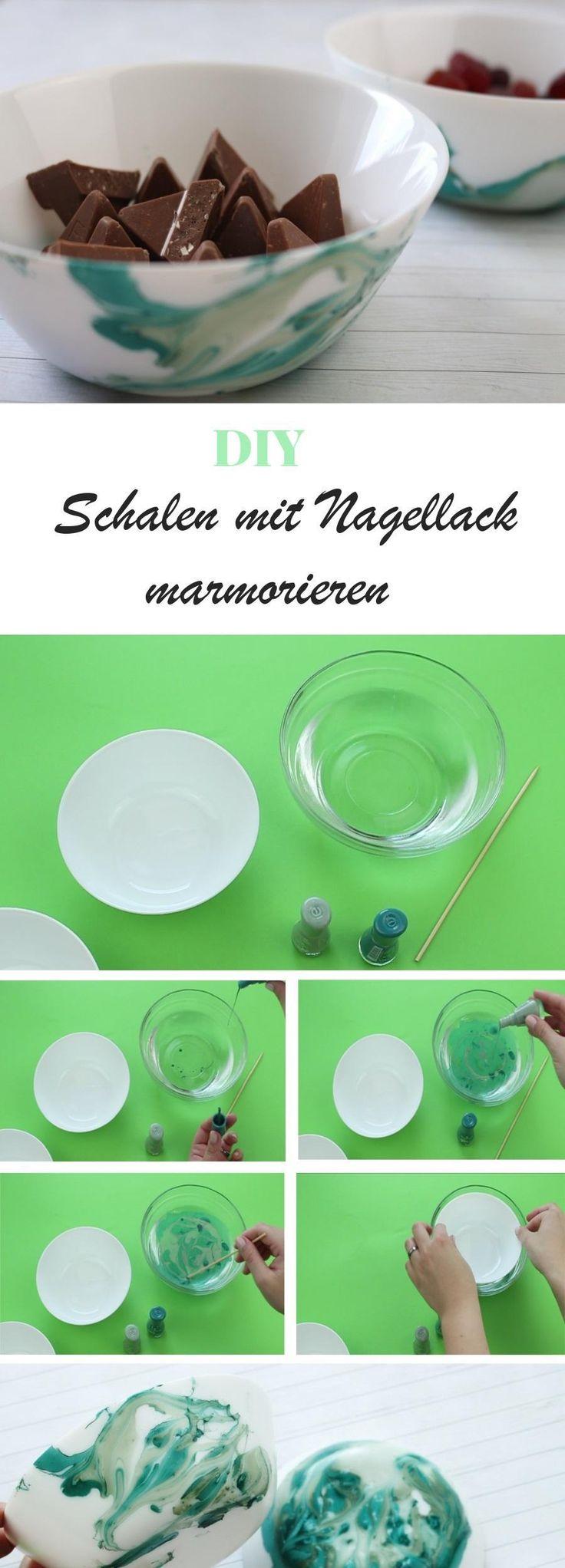 DIY Schalen mit Nagellack mamorieren | DIY Deko | Geschirr mamorieren - auf riamarleen.de findest du die ausführliche Anleitung.