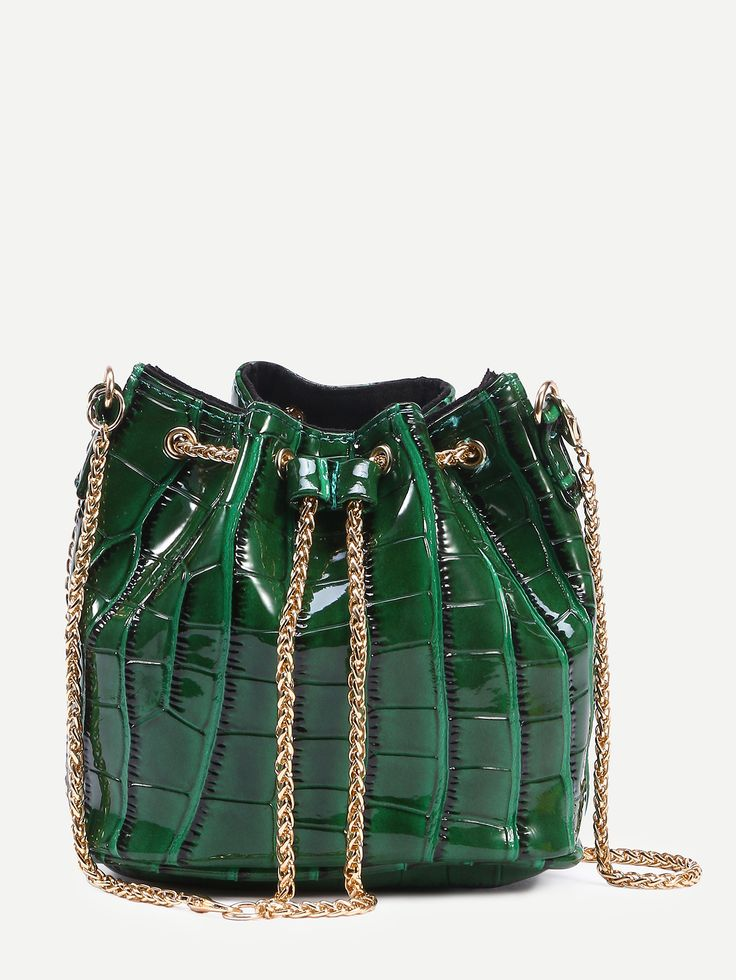 Shop Green Crocodile Embossed Faux Patent Leather Chain Bucket Bag online. SheIn…