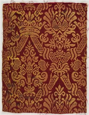 Gold and red silk brocade. 16-17th century. Spanish or Italian. IMATEX, register number 5354. I would like six yards of this delivered to my house, please. ASAP.