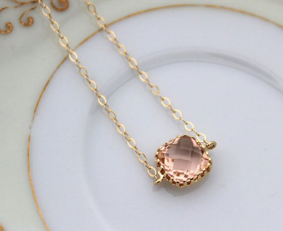 READY TO SHIP! Dainty Blush Champagne Bracelet Square Gold Plated Peach Bracelet - Bridesmaid Bracelet - Bridal Bracelet Blush Champagne Wedding Jewelry The champagne square glass gem is 9mm with 3mm thickness and is gold plated. There is 1 square on the bracelet and then it has 14k gold