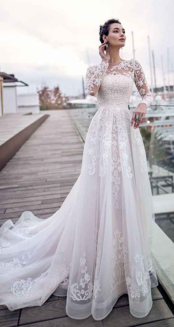 2019 Bridal Long Sleeves Sheer Bateau Neckline Full Embellishment Romantic Elegant A Line Wedding Dress Sheer Lace Back Chapel Train M6245 – MODE ROBE COKTAIL CÉRÉMONIE MARIAGE