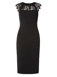 **Tall Black Scuba Lace Mix Pencil Dress