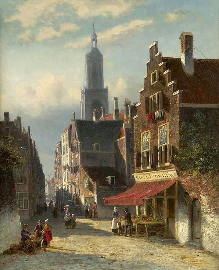 """""""Street scene in Amsterdam"""" By Johannes Frederik Hulk (Dutch, 1829-1911) oil on canvas; 57 x 47 cm; 22 1/2 x 18 1/2 in. Private Collection"""