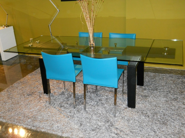 Clear Glass Table With 2 Hidden Extensions Turquoise Chairs Furniture Toronto