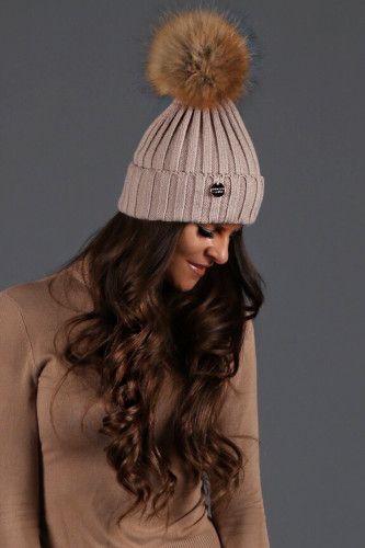 Holland-Cooper-Ribbed Knit Fur Bobble Hat (Camel)-04