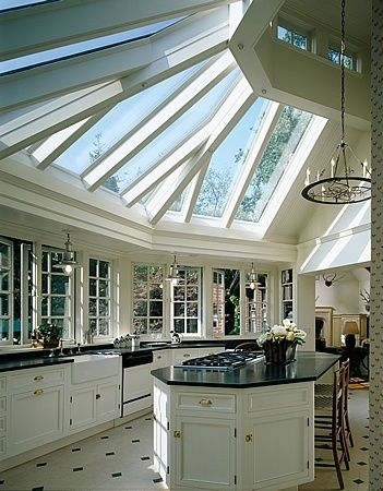 I have no words...is this not stunning or what? The light in this kitchen is glorious. I would never leave.: Kitchens, Window, Dream House, Kitchen Skylight