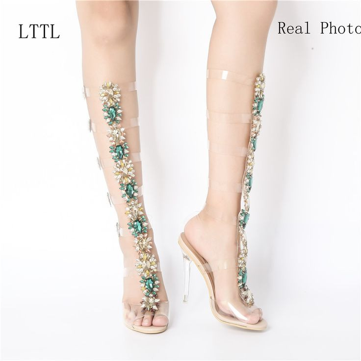 2017 Sexy Pvc Transparent Gladiator Sandals Woman Open Toe T strap Rhinestone Diamond Clear High Heel Shoes Women Summer Boots -in Women's Sandals from Shoes on Aliexpress.com   Alibaba Group