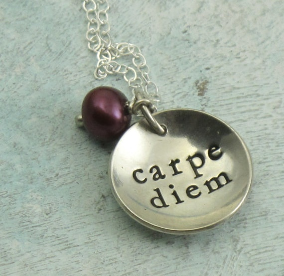 Carpe Diem and pearl  sterling silver necklace by KathrynRiechert, $38.00
