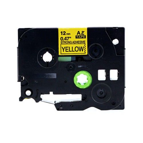 """Brother TZe-S631 P-Touch Strong Adhesive Label Tape, 12mm (0.6"""") Black on Yellow, Compatible"""